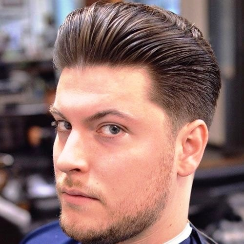 Classic Tapered Sides with Thick Brushed Back Hair