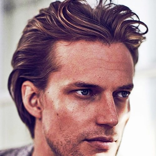 Middle Part on Medium Hairstyles for Men
