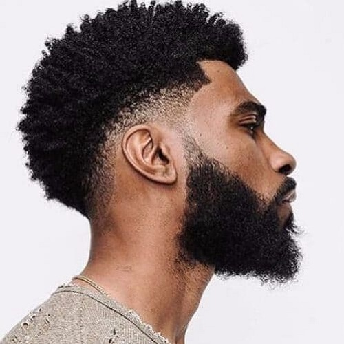 Short Afro Fade with Bandanna for black men's hair
