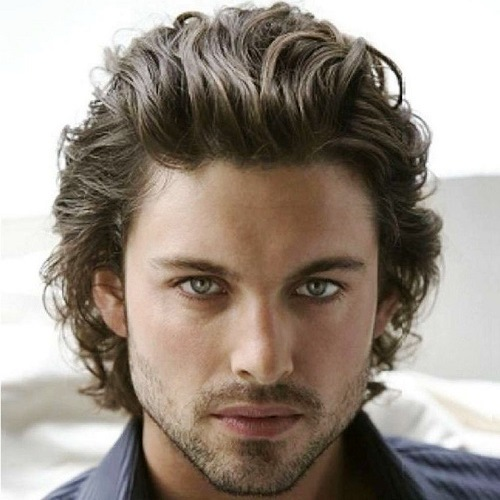 Thick Wavy Medium Hairstyles for Men