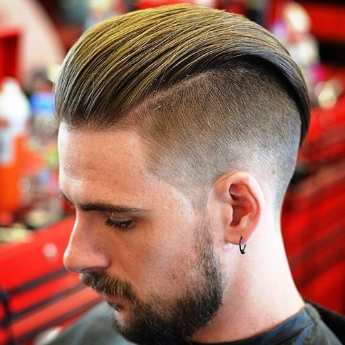 Brushed Back Taper Fade Undercut Hairstyle for Men