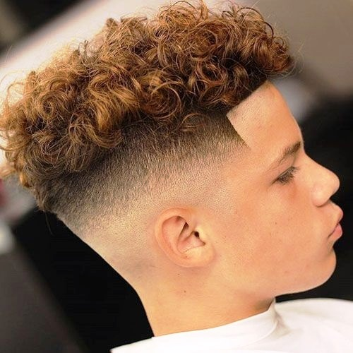 Messy Curly Top with Mid Fade