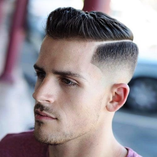 Side Part Undercut Hairstyle for Men with Designed Skin Fade